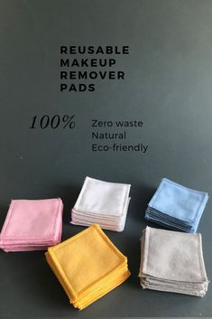 Reusable cotton rounds set of Zero waste makeup remover pads. - A set of mixed colours reusable cotton squares. They are ideal for removing your make up, washing y - Diy Makeup Remover Wipes, Homemade Makeup Remover, Make Up Remover, Cotton Pads, Tampons, Zero Waste, Gifts For Friends, Sewing Crafts, Simple Sewing Projects