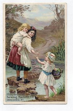 Vintage Household Sewing MachineTrade Card 3 Children Crossing Stream