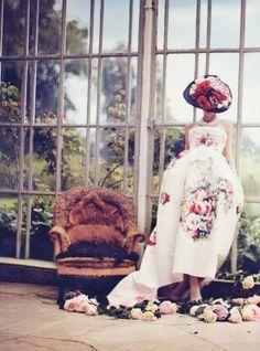 Karlina Caune wearing Dolce & Gabbana Alta Moda dress in Vogue UK October 2012