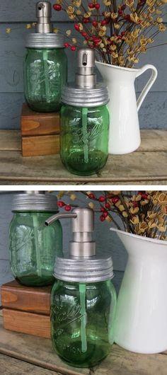 Mason Jar Soap Dispenser // #christmas #decor #diy #idea