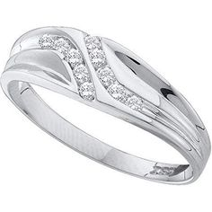 0.12 Carat (ctw) 10K White Gold Round Cut White Diamond Men's Fashion Wedding Anniversary Band - http://www.loveuniquerings.com/diamond-wedding-bands/0-12-carat-ctw-10k-white-gold-round-cut-white-diamond-mens-fashion-wedding-anniversary-band/