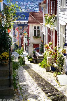 Bergen, Norway. This was my favorite town when I visited Norway, Sweden & Denmark. It's just so quaint & charming that you can't help but love it and the Norwegians in general. ASPEN CREEK TRAVEL - karen@aspencreektravel.com