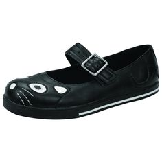 Mary Jane buckle up; featured with old favorite black kitty, but now on the narrow plimmie sole.  Man-made materials. Vegan