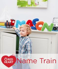 Name Train Free Crochet Pattern in Red Heart Yarns - A personalized train is a super way to make a kid feel special! Crochet the engine, then all the letters in his or her name. Colors can be customized to the décor of the child's room. Great for learning your letters and how to spell your own name.