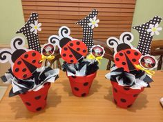 LadyBug Centerpiece!!! Ladybug 1st Birthdays, First Birthdays, 1st Birthday Girls, 1st Birthday Parties, Ladybug Centerpieces, Miraculous Ladybug Party, Baby Ladybug, Ladybug Crafts, Baby Party