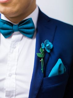 Suave groom in navy blue. Glitter and Teal Wedding from We Are Origami Photography