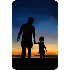Silhouette father daughter portrait