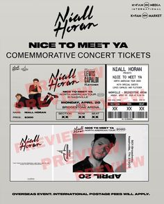 Niall Horan Presents: Nice to Meet Ya Tour 2020 Commemorative Tickets by KFAMMarket Niall Horan Tour, One Direction Tickets, Louis Tomlinson, Imprimibles One Direction, Foto One, Ticket Design, Harry Styles Live, Chalk Drawings, American Tours