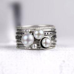 Süßwasser Perle und Silber Ringe gemischte von bespokenjewelry