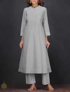 Buy Grey Ivory Handloom Cotton Kurta by Jaypore Women Kurtas Dialogues Handwoven dresses and pants Online at Jaypore.com