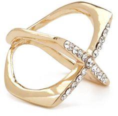 Rhinestone X-Shaped Cutout Ring