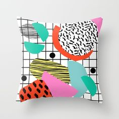 Posse - 1980's style throwback retro neon grid pattern shapes 80's memphis design neon pop art Throw Pillow