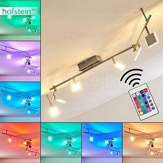 LED Deckenleuchte Parnu aus Metall Chrom/Nickel matt - Zimmerlampe für Wohnzimmer - Schlafzimmer - Flur - mit Fernbedienung und RGB Farbwechsler - Leuchte ist dimmbar - Spots beliebig dreh- und schwenkbar.