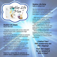 Shaklee Life Plan-the best, most comprehensive nutritional system in the world! Make every day amazing and stay younger longer!!!