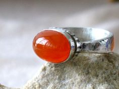 Silver and carnelian Ring by riorita on Etsy, $59.00