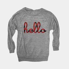 Hello Buffalo Plaid Raglan Tri-Blend Shirt Kids