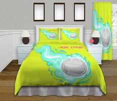 Volleyball Bedding, have it personalized with name and number. I can even change background color and flames.