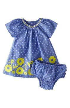 Mini Boden Embroidered Summer Cotton Poplin A-Line Dress (Baby Girls)