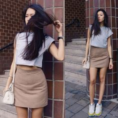 Get this look: http://lb.nu/look/7714186  More looks by Aliya Akhmedeeva: http://lb.nu/kartoshka  Items in this look:  Somemoment Skirt And T Shirt, Nike Sneakers   #casual #minimal #street