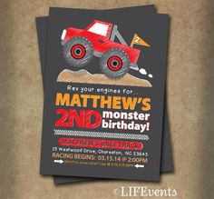 Monster Truck Birthday Invitation Chalkboard Monster by LIFEvents, $12.00