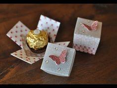Hier bastel ich mit Dir eine kleine Explosionsbox, in der ein Ferrero Rocher, ein Küsschen oder ein Mon Cheri Platz finden. Die Box ist aus Designer- und Per...