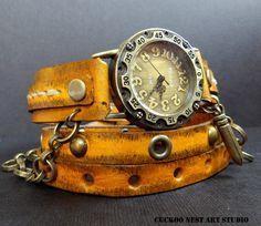 Leather Watch, Tobacco Brown Wrap around Watch, Ladies watch, Bracelet Watch, Vintage looking watch, Accessories, Handcrafted by CuckooNestArtStudio on Etsy https://www.etsy.com/listing/221565051/leather-watch-tobacco-brown-wrap-around