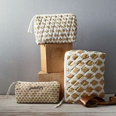 I am not a fan of anything quilted, but these travel bags are so cute and funky!!!! (Metallic Ikat Cosmetic Bag)