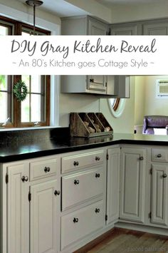 Pieced Pastimes: DIY Gray Kitchen Reveal - An 80's Kitchen Goes Cottage Style