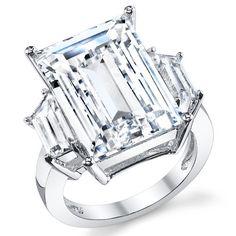 Kim Kardashian Sterling Silber 925 Verlobungsring,Ehering Mit 17 Karat Smaragdschliff Zirkonia Bequemlichkeit Passen,Größe 54
