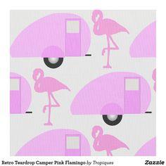 Retro Teardrop Camper Pink Flamingo Fabric