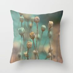 Wild flowers(blue&gold) Throw Pillow