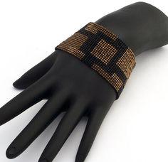 Vierkante Stitch kralen armband Solid pleinen smalle brons
