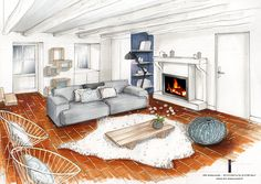 Discover recipes, home ideas, style inspiration and other ideas to try. Interior Architecture Drawing, Interior Design Renderings, Drawing Interior, Watercolor Architecture, Interior Rendering, Interior Sketch, Home Interior, Architect Design, Furniture Design