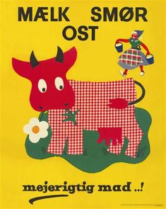 Danish illustration: milk, butter, cheese
