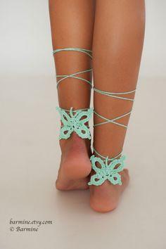 Mariposa menta Crochet descalzo sandalias zapatos Nude