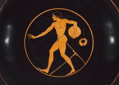 """This athlete is about to throw a discus, one of the oldest Olympic sports. Classic form, don't you think? Painted by Douris, Sculpted by Python """"Drinking cup (kylix) depicting an athlete with discus."""" Museum of Fine Arts, Boston."""