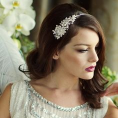 Model bride wearing our pearl & crystal vintage inspired wedding side headband