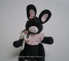Polymer Clay Black and White Easter Bunny Rabbit by HelensClayArt