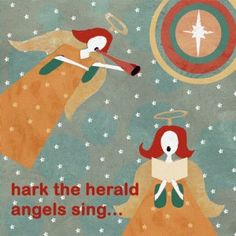 """Online Christmas Cards UK:- """"Hark the Herald Angels"""" by Lorna Siviter. Published by Art Cove Cards."""