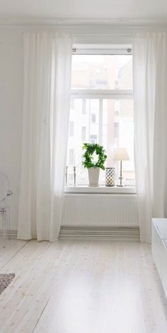 Image result for long white curtains with white voile