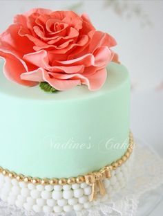 Elegant rose and pearl cake for tea party, shower or ladies luncheon.