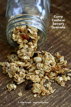 This Curry Cashew Savory granola is fantastic change to the usual sweet granola option. Eat up as is, use to garnish soups, or add to your morning yogurt. Yummy Vegan Snacks, Savory Snacks, Vegan Breakfast Recipes, Vegan Foods, Savoury Dishes, Healthy Snacks, Vegan Recipes, Oatmeal Recipes, Vegan Granola