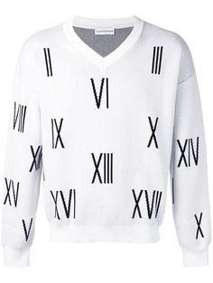 ffc7c6c0a96 GOSHA RUBCHINSKIY V-neck numbers sweater.  gosharubchinskiy  cloth  вырезом  Mens Cotton