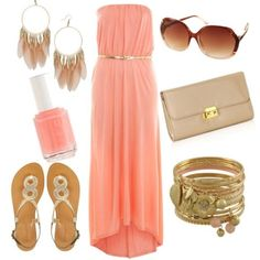 Long peach pink dress. Really cute for the spring weather!