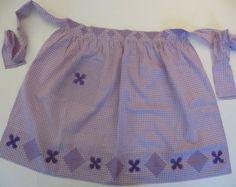 Vintage Apron, 50s Light Purple Gingham Check Cotton, Cross Stitch Embroidery, Mid Century Retro Handmade, Unused. Rockabilly and Perfect