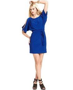Jessica Simpson Dress, Short-Split-Sleeve Belted Blouson