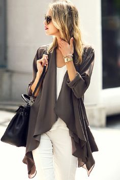Casual Button Design Solid Color Asymmetric Length Long Sleeve Cardigan For Women Plain Shirts, Spring Tops, Sammy Dress, Blouse Vintage, Casual Fall, Look Cool, Cardigans For Women, Clothes For Women, Casual Clothes