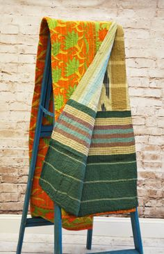 One of a Kind Kantha Sari Throw from India