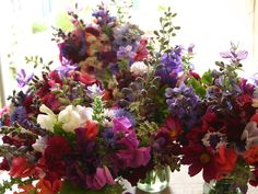 Gorgeous jewel colours for a July bride - English country flowers by Common Farm Flowers in Somerset