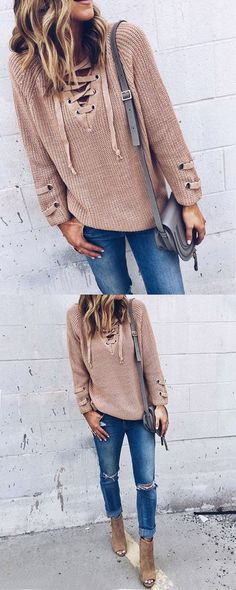Free shipping&easy return!Solid color fashion loose sweater! Exquisite V-neck design, Cuffs hollow decoration,collar drawstring even more fashion style!